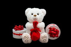 Gift soft toy. White bear Royalty Free Stock Image