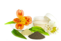 Gift of spa. Clay and soaps with flower isolated on white Stock Photos