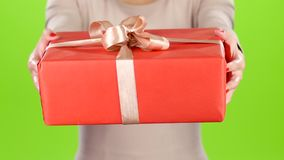 Gift. Specially for you. Big red carton with a bow stock video footage