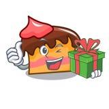 With gift sponge cake mascot cartoon. Vector illustration Royalty Free Stock Photography