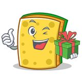 With gift sponge cartoon character funny Stock Images