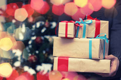 Gift stack hand christmas Stock Images