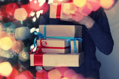 Gift stack hand christmas Royalty Free Stock Photography