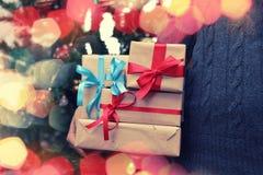 Gift stack hand christmas Stock Photography