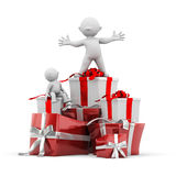 Gift stacking. 3d human with gift stacking Stock Photos