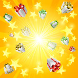 Gift star background. A gift present box and star jackpot or Christmas background Stock Image