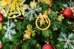 Gift and star for christmas decoration for holiday,Close up stock photography