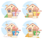 Gift on steps. Vector illustrations with gifts on steps of house Royalty Free Stock Images