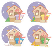 Gift on steps. Vector illustrations with gifts on steps of house Royalty Free Stock Photos