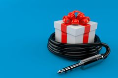 Gift with stereo plug Royalty Free Stock Images