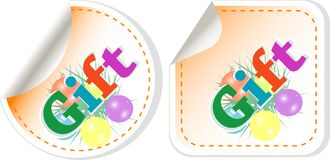 Gift stickers set isolated on white Royalty Free Stock Images