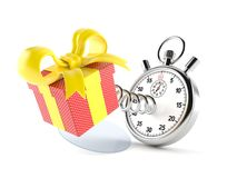 Gift with stopwatch. Isolated on white background stock illustration