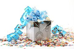 Gift and streamer Royalty Free Stock Photo