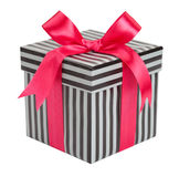 Gift striped box with pink bows Royalty Free Stock Photos