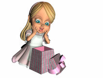 Gift Surprise. Girl showing surprise and happiness when she opens her present Stock Illustration