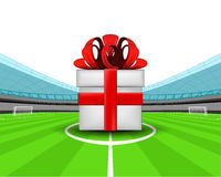 Gift surprise in the midfield of football stadium vector Stock Photography