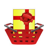 Gift surprise in red basket vector Royalty Free Stock Photography