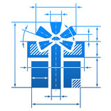 Gift symbol with dimension lines Royalty Free Stock Images