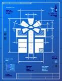 Gift symbol like blueprint drawing Stock Photo