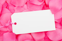 Gift Tag. A blank gift tag sitting on a pink flower petal background, gift tag Stock Images