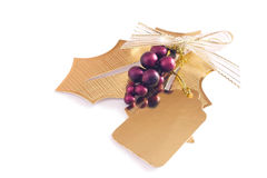 Gift tag. Holly and berries gift tag Stock Photo