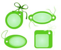 Gift tag. Four green labels isolated on white background Royalty Free Stock Photography