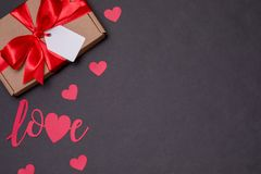Valentines day romantic seamless black background, gift tag bow, present,love,hearts,copy text space. Gift tag bow, present,love,hearts,copy text space royalty free stock images