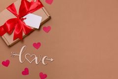 Valentines day romantic seamless nude background, gift tag bow, present,love,hearts,copy text space. Gift tag bow, present,love,hearts,copy text space,Valentines royalty free stock images