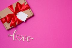 Valentines day romantic seamless pink background, gift tag bow, present,love,hearts,copy text space. Gift tag bow, present,love,hearts,copy text space,Valentines royalty free stock photos