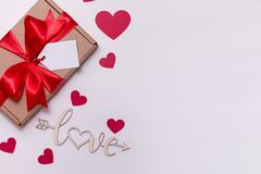 Valentines day romantic seamless white background, gift tag bow, present,love,hearts,copy text space. Gift tag bow, present,love,hearts,copy text space royalty free stock image