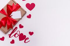 Valentines day romantic seamless white background, gift tag bow, present,love,hearts,copy text space. Gift tag bow, present,love,hearts,copy text space royalty free stock images
