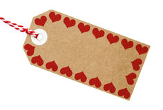Gift Tag Brown Card With Love Heart Border Stock Photography
