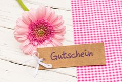 Gift tag with german word Gutschein, means voucher with pink flower as gift for Valentin`s Day or Mother`s Day. Pink gerbera flower with label and german word Royalty Free Stock Photography