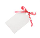 Gift tag with red ribbon  (Clipping Path included) Royalty Free Stock Images