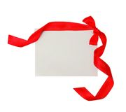 Gift tag with red ribbon  isolated Stock Images
