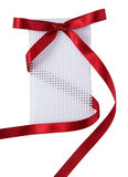 Gift tag with red wine ribbon bow  Stock Photography