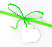 Gift Tag Shows Empty Space And Bow Stock Photo