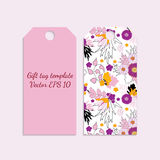 Gift tag template with bright  flower pattern in pink color. Royalty Free Stock Photography