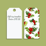Gift tag template with bright red lily pattern Stock Photography