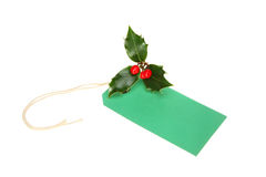 Free Gift Tag With Holly Royalty Free Stock Photos - 21815268