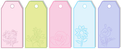 Gift tags. Different Gift tags with flowers, isolated. Vector illustration Stock Image