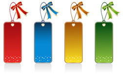Gift Tags. Set of Red, Blue, Gold and Green Gift Tag royalty free illustration
