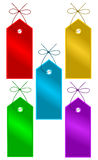 Gift tags. Illustration of gift tags in different colors royalty free illustration