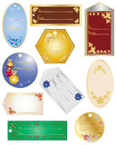 Gift tags. An illustration of various gift tags with different christmas elements on a white background Stock Image