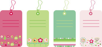 Gift tags. Vector illustration of gift tags with flowers and fruits Royalty Free Stock Photography
