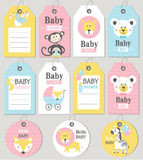 Gift tags and cards baby shower. Baby Arrival set. Royalty Free Stock Photos