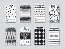 Gift tags and cards set with hand drawn elements. Collection of handmade label paper in black and white. Hand crafted Royalty Free Stock Images