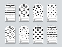 Gift tags and cards set with hand drawn elements. Collection of holiday label paper in black and white. Seasonal badge. Sale design. Price tags and gift cards Royalty Free Stock Photography