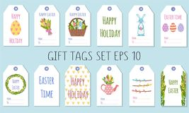 Gift tags for the Easter holiday. Decorating gifts with spring elements royalty free illustration