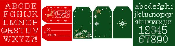 Knitted vector alphabet. Christmas font , embroidery letters, numbers. Gift tags Merry Xmas; from, to; simple labels with blank text space. Green and red royalty free illustration